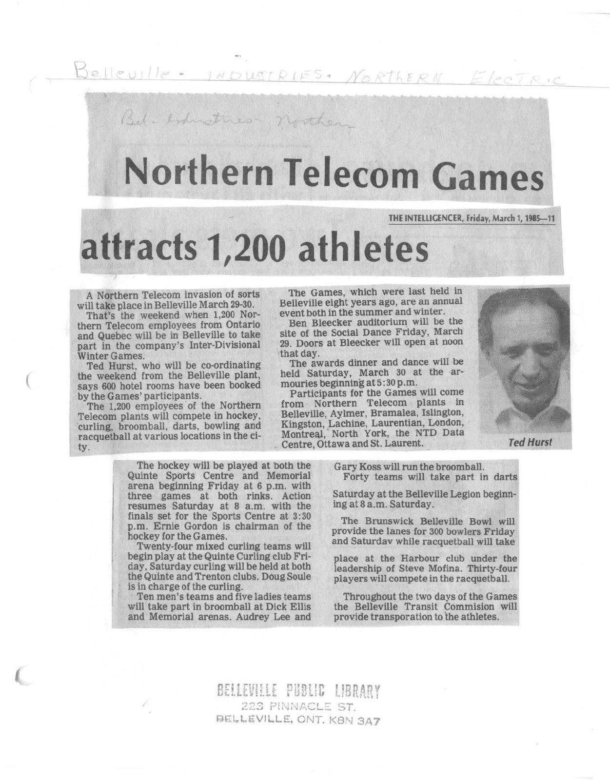Northern Telecom Games attracts 1,200 athletes