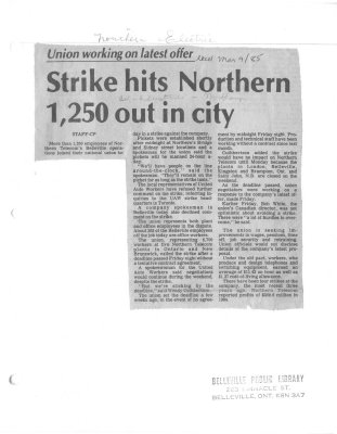 Strike hits Northern 1,250 out in city