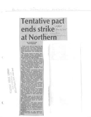 Tentative pact ends strike at Northern