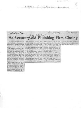 Half-century-old Plumbing Firm Closing