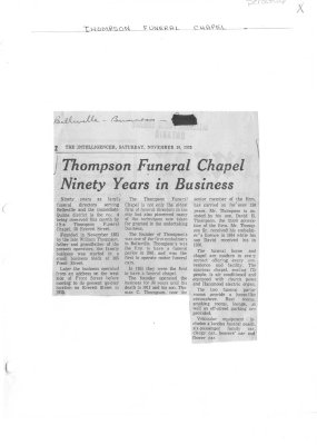 Thompson Funeral Chapel Ninety Years in Business