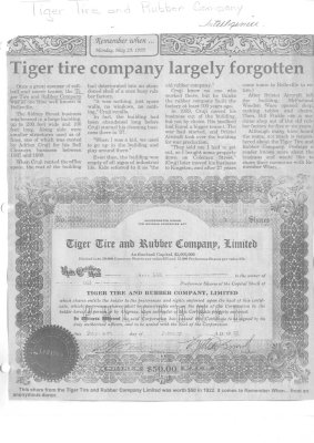Tiger tire company largely forgotten