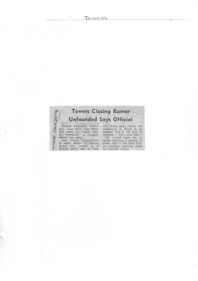 Towers Closing Rumor Unfounded Says Official