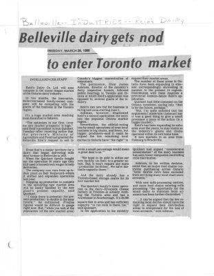 Belleville dairy gets not to enter Toronto market