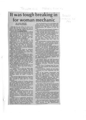 It was tough breaking in for a woman mechanic
