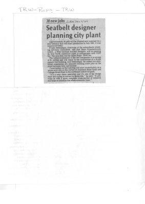 Seatbelt designer planning city plant