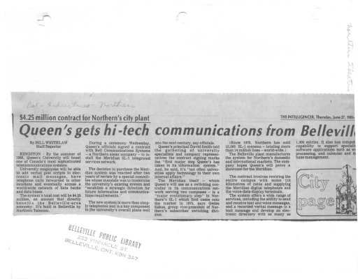 Queen's gets hi-tech communications from Belleville