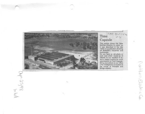 "Time Capsule: ""New Northern Electric Co. Plant"""