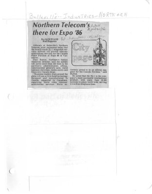 Northern Telecom's there for Expo '86