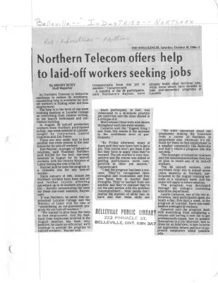 Northern Telecom offers help to laid-off workers seeking jobs