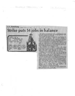 Strike puts 54 jobs in balance