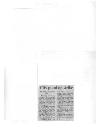 City plant on strike