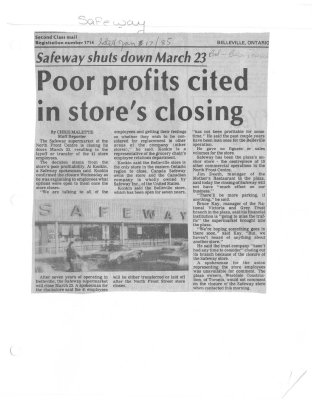 Poor profits cited in store's closing