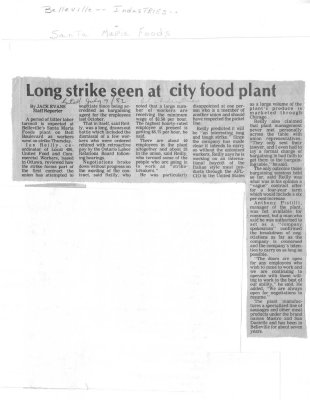 Long strike seen at city food plant