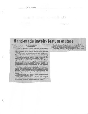 Hand-made jewelry feature of store