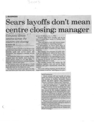 Sears layoffs don't mean centre closing: manager