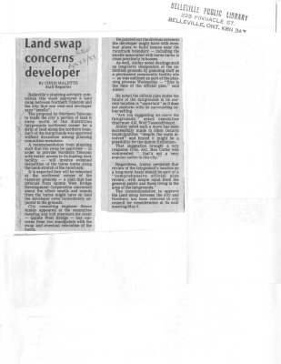 Land swap concerns developer
