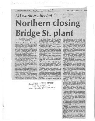 Northern closing Bridge St. plant