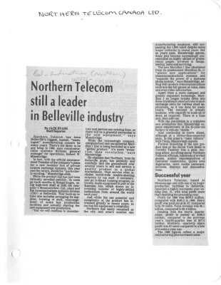 Northern Telecom still a leader in Belleville industry