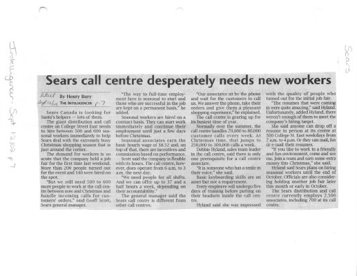 Sears call centre desperately needs new workers