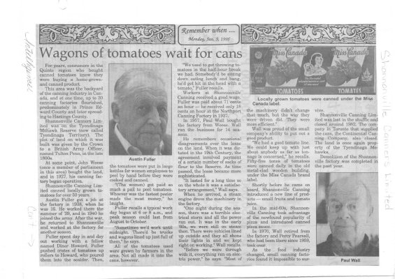 Remember when: Wagons of tomatoes wait for cans