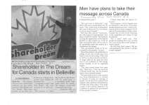 Shareholder in the Dream for Canada starts in Belleville