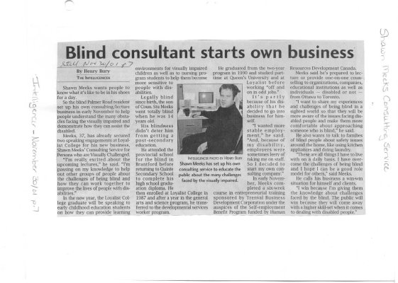 Blind consultant starts own business