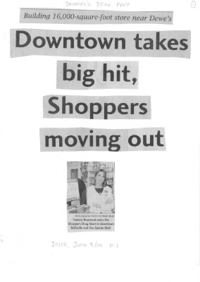 Downtown takes big hit, Shoppers moving out