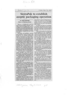 SierraPak to establish aseptic packaging operation