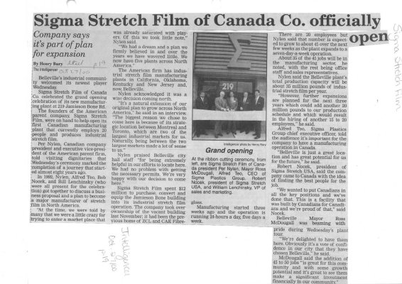Sigma Stretch Film of Canada Co. officially open
