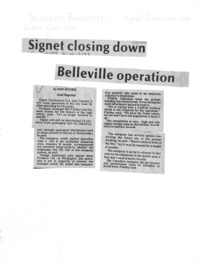 Signet closing down Belleville operation