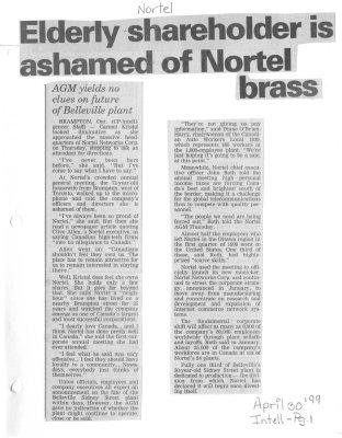 Elderly shareholder is ashamed of Nortel brass