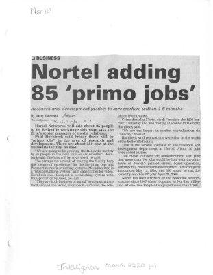 Nortel adding 85 'primo jobs'