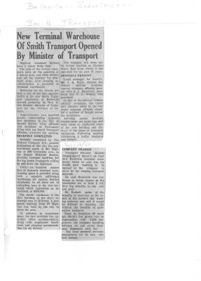 New Terminal Warehouse of Smith Transport Opened By Minister of Transport