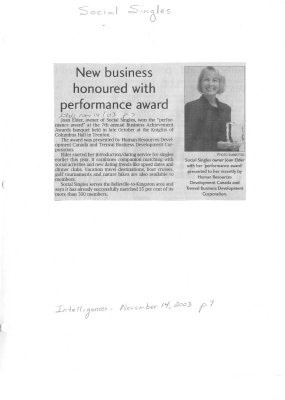 New business honoured with performance award