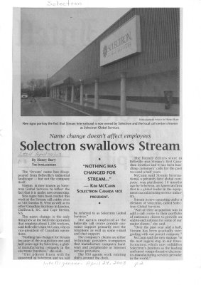 Solectron swallows Stream