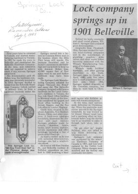 Lock company springs up in 1901 Belleville
