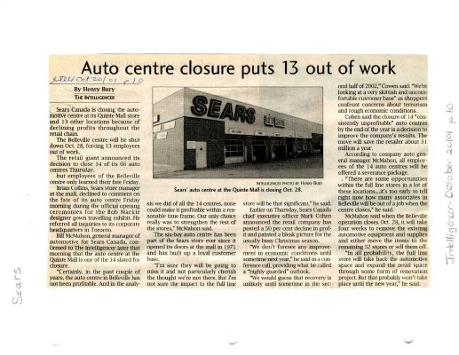 Auto centre closure puts 13 out of work