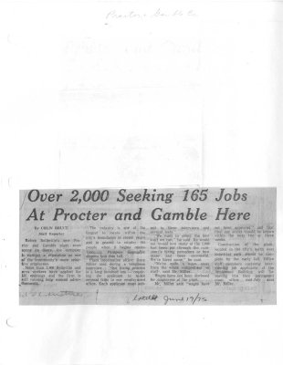 Over 2000 Seeking 165 Jobs At Procter and Gamble Here