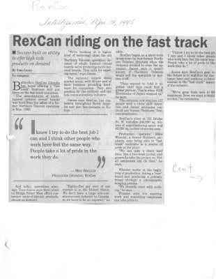 RexCan riding on the fast track