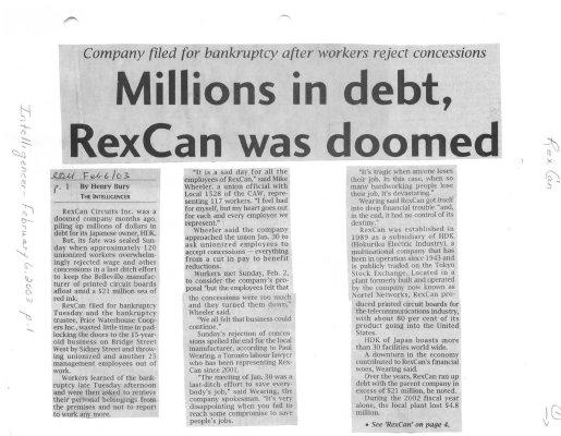 Millions in debt, RexCan was doomed
