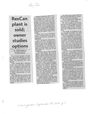 RexCan plant is sold; owner studies options
