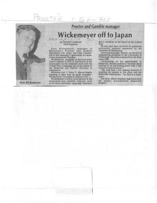 Wickemeyer off to Japan