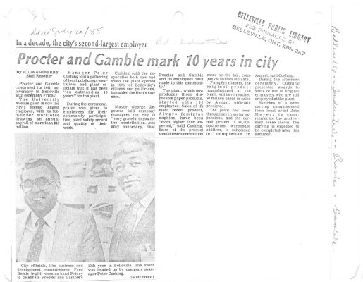 Procter and Gamble mark 10 years in city