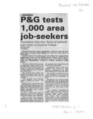 P&G tests 1000 area job-seekers