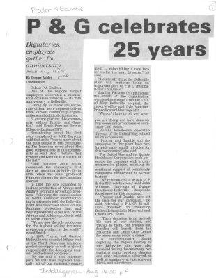 P & G celebrates 25 years