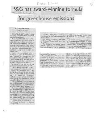P&G has award-winning formula for greenhouse emissions