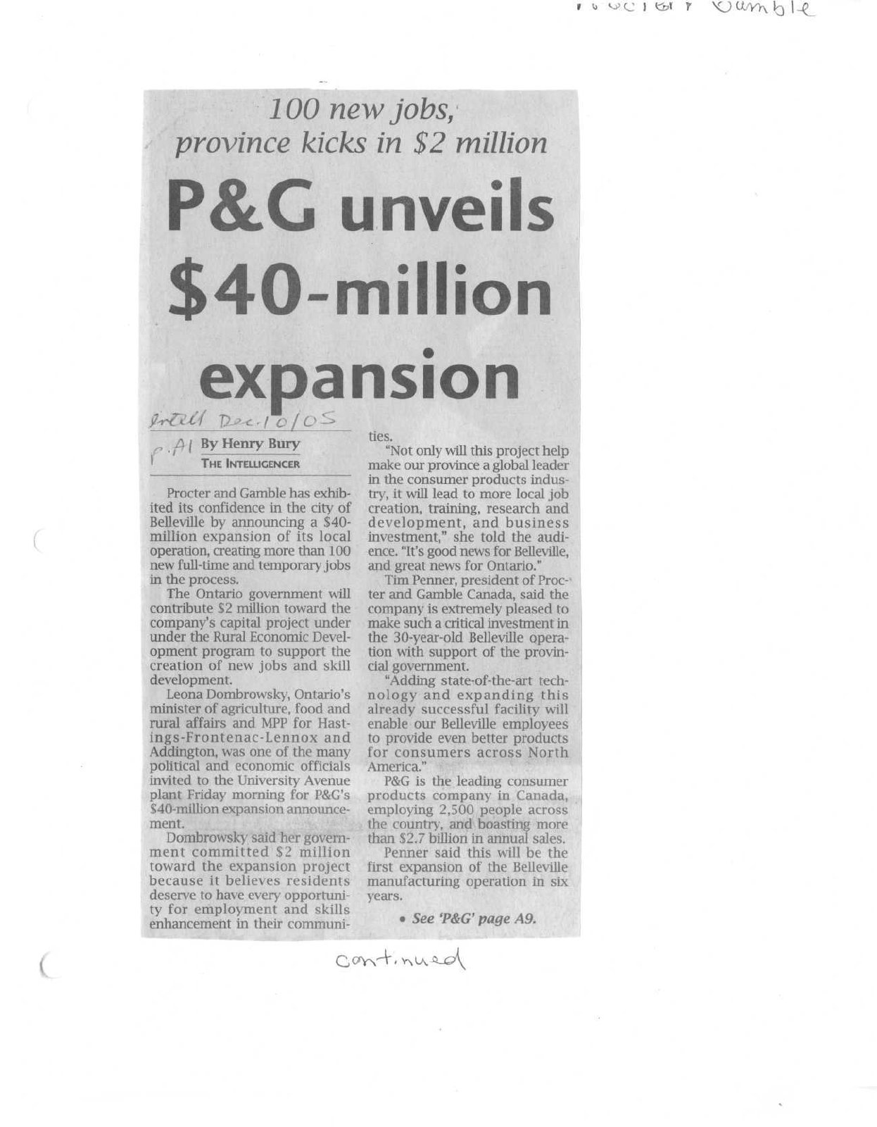 P&G unveils $40-million expansion