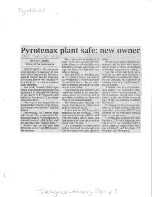 Pyrotenax plant safe: new owner