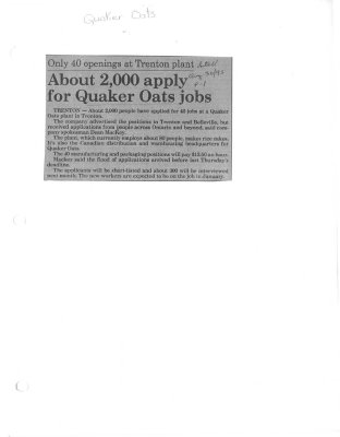 About 2000 apply for Quaker Oats jobs